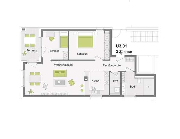 3-Zimmerwohnung EG-Wohnung mit ca. 100 m²-Gartenfläche