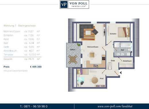 Hoch hinaus! 3 Zimmer Dachgeschoss Neubauwohnung mit großem SW-Balkon