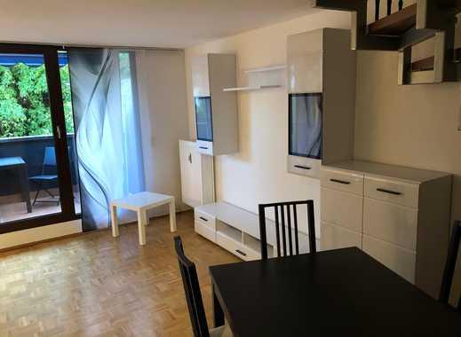 Komplett möblierte helle Maisonettewohnung mit Balkon in ruhiger Grünlage