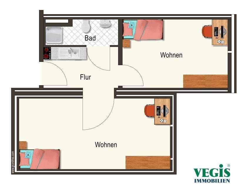 Vollmöbliertes Zimmer in Doppelapartment in Uni-Nähe in