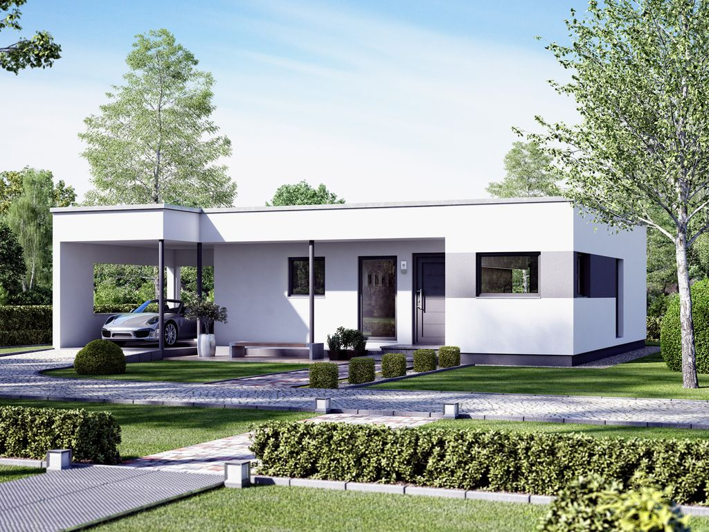 solution 78 v10 eleganter flachdach bungalow mit design carport. Black Bedroom Furniture Sets. Home Design Ideas
