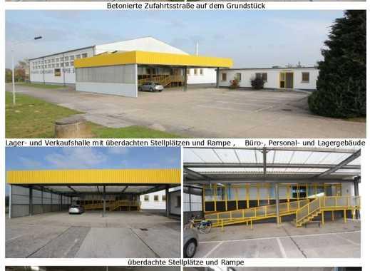 Verkaufs- und/oder Lagerhalle mit Personal-/ Büro-/Lagergebäude und Garagen