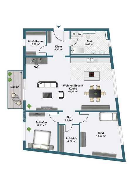 Neubau im Herzen von Rosenheim - 3-Zi-Wohnung mit Balkon! in Rosenheim-Innenstadt (Rosenheim)