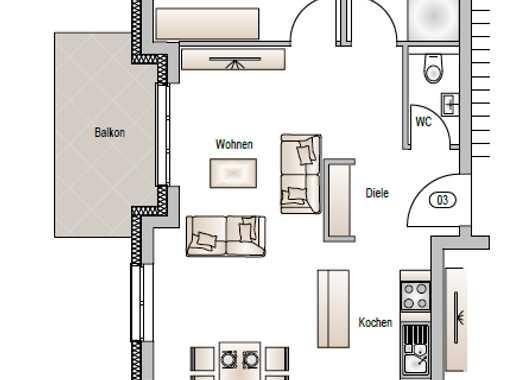 Obergeschoss / 2-Zimmer