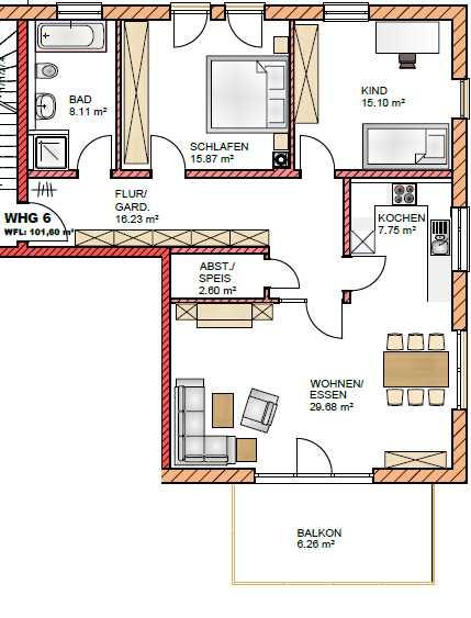 Erstbezug: freundliche 3,5-Zimmer-Wohnung mit Balkon in Abensberg in Abensberg