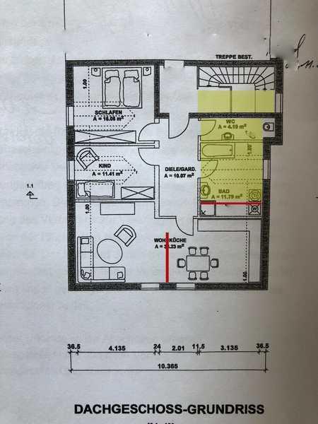 Freundliche 3-Zimmer-DG-Wohnung mit EBK in Ruhstorf in Ruhstorf an der Rott