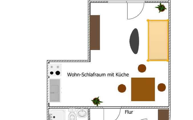 Grundriss 1-Raumwohnung offene