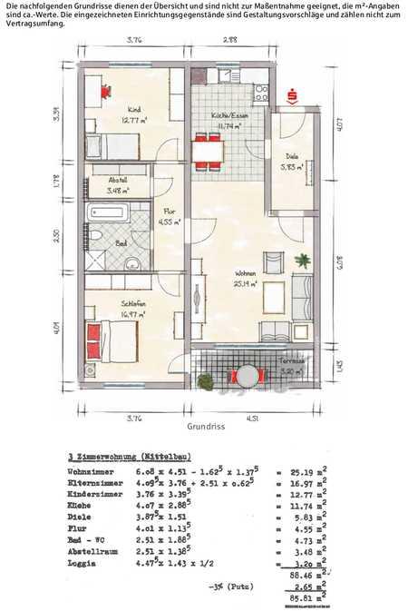 3-Zimmer-Wohnung mit EBK und Balkon in Schweinfurt in Bergl (Schweinfurt)