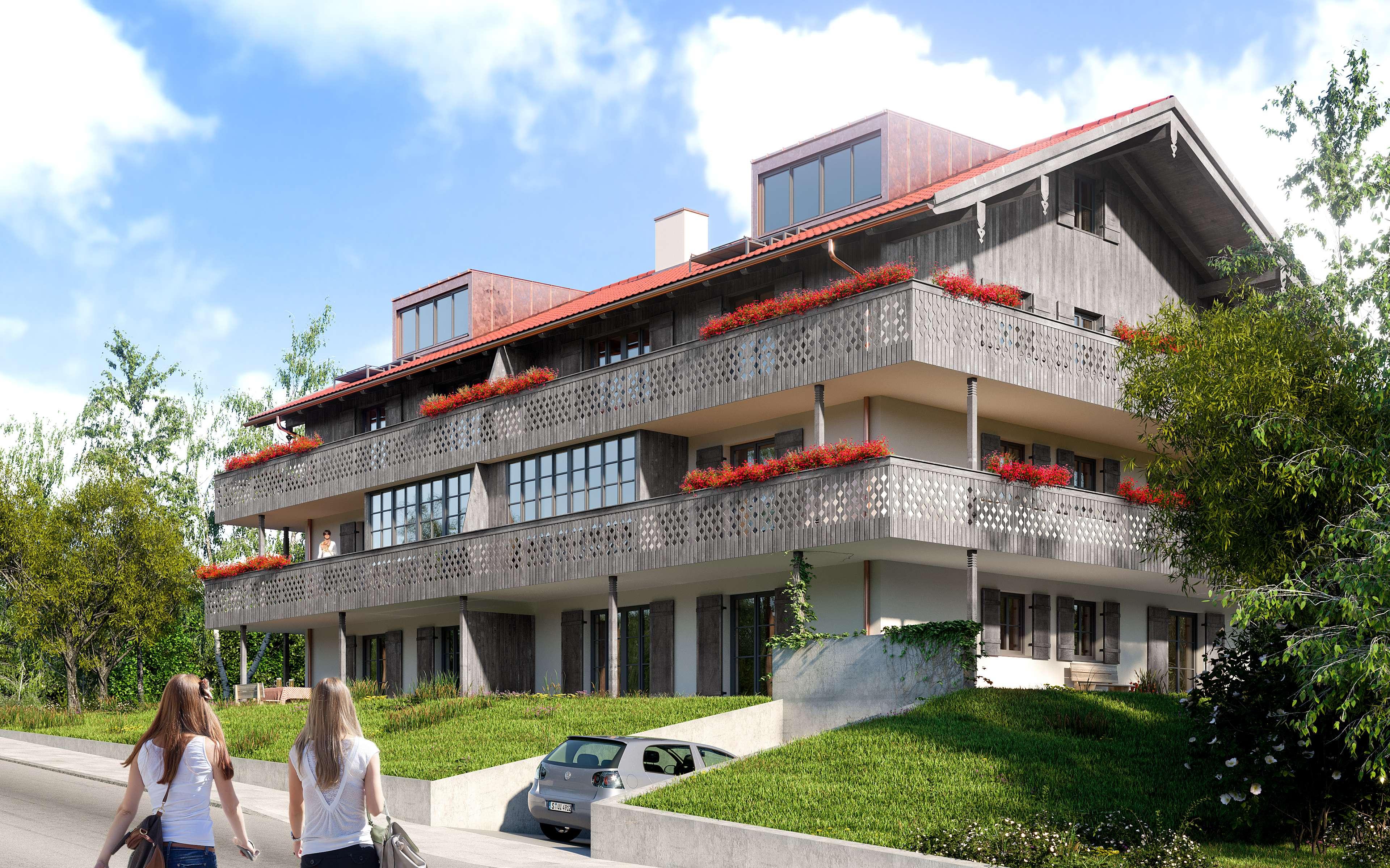 ERSTBEZUG: In ruhiger, sonniger Bestlage: NEUBAU- 1.OG-Wohnung mit herrlichem Bergpanoramablick in Prien am Chiemsee
