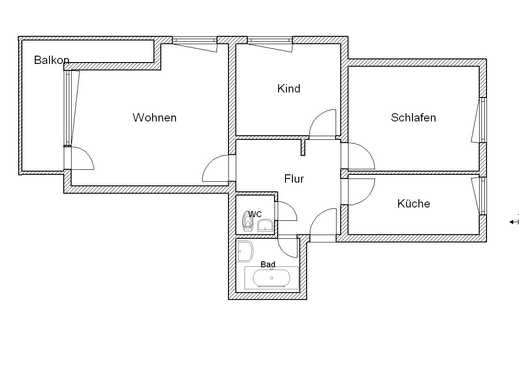 3 Zimmer, sep. Küche, Balkon!  Gerne 2er-WG/ Studenten/Azubis/ Paare.