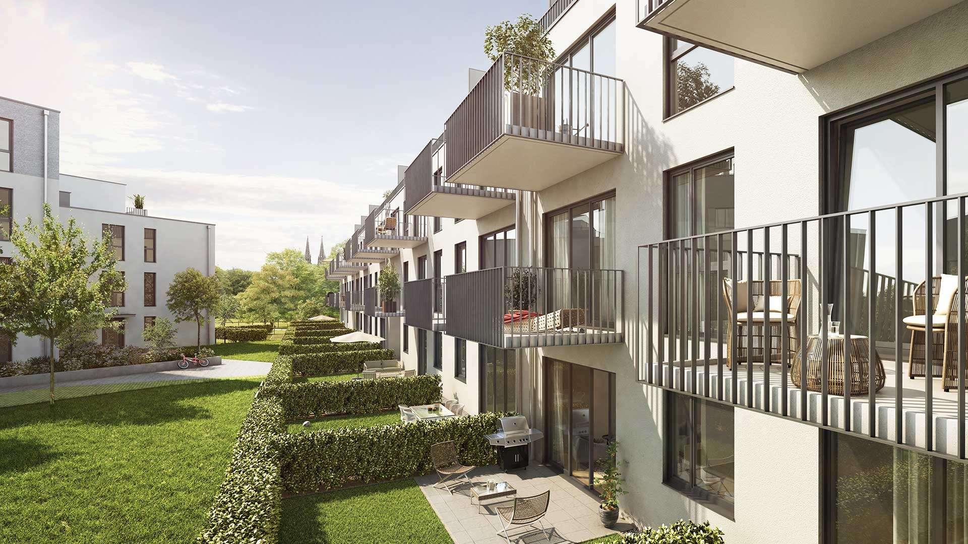 Hochwertige 2-Zimmer-Wohnung mit Südbalkon und Einbauküche - ERSTBEZUG - in