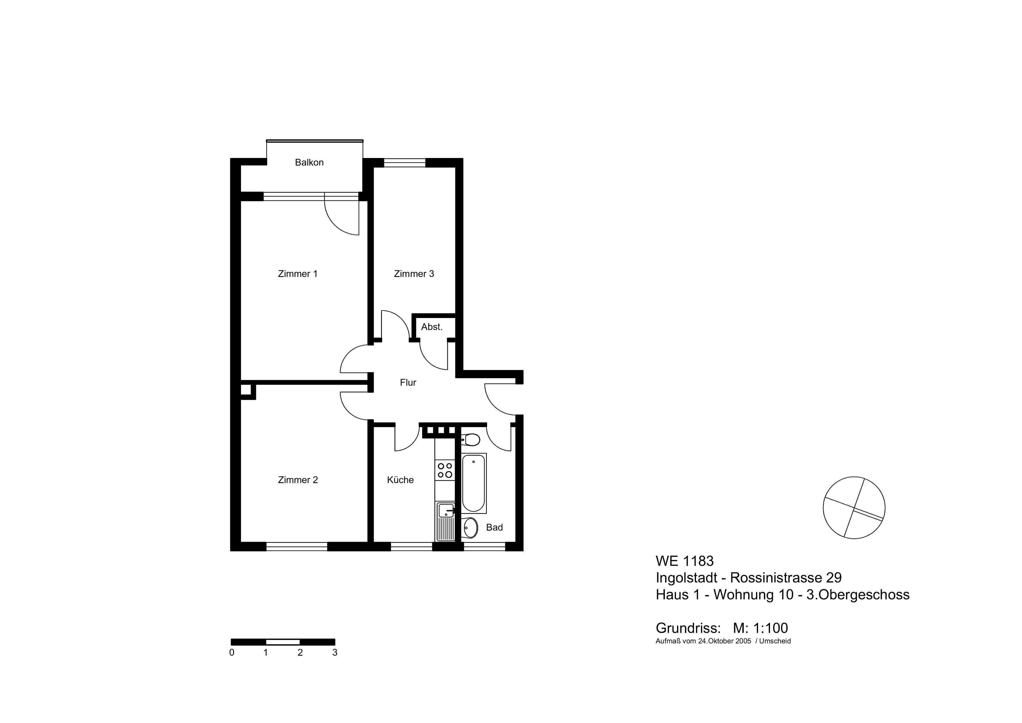 3-Zimmer-Whg. ab 01.03.2020 mit Balkon + Tageslichtbad in Nordwest