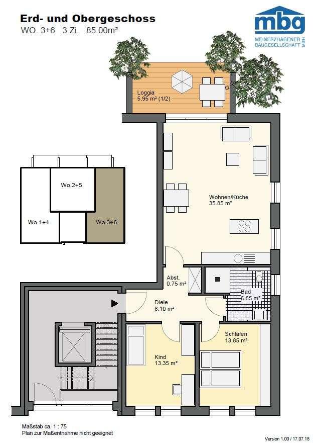Wohnen im Pfarrgarten - erstklassige drei Zimmer Erdgeschosswohnung