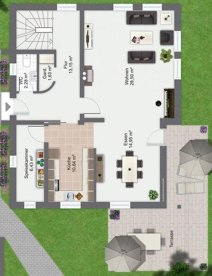 Erdgeschoss Plan gross Ansicht