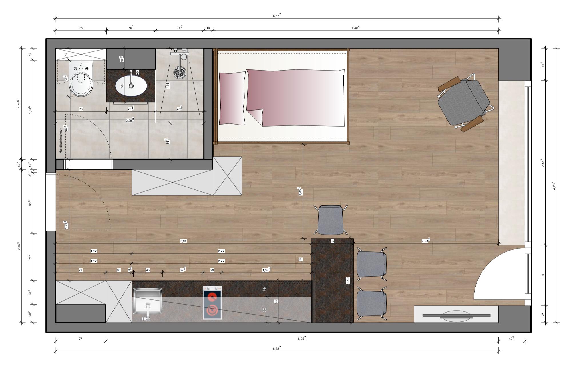 Erstbezug nach Sanierung mit Einbauküche und Balkon: exklusive 1-Zimmer-Wohnung in Bad Reichenhall
