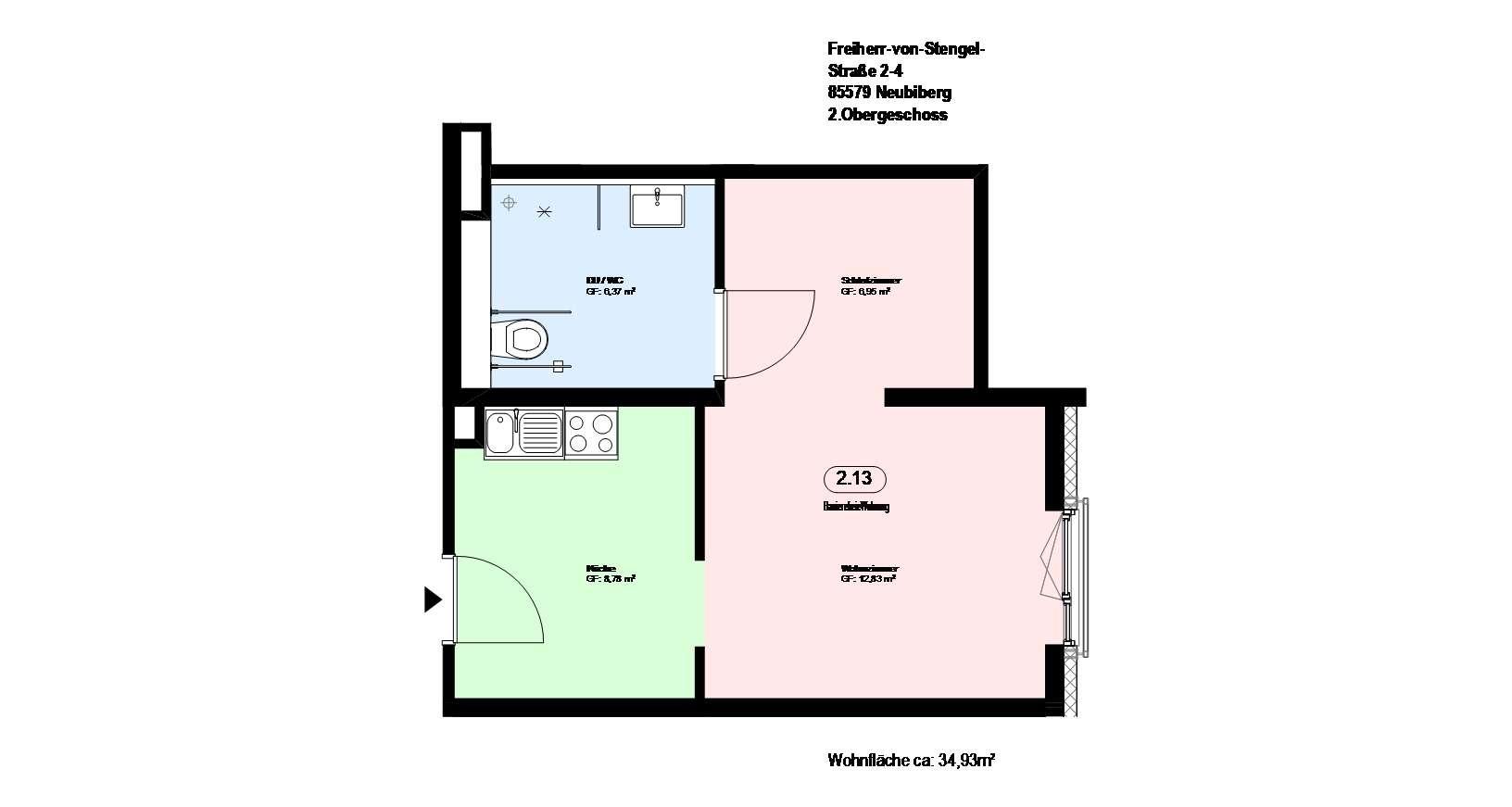 *Neubiberg*möblierte 1-Zimmer Wohnung *direkt an der S-Bahn* mit EBK und Parkett * in Neubiberg