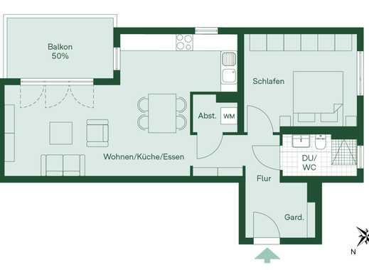 Kuschelige 2-Zimmer-Eigentumswohnung mit Balkon, bodentiefer Dusche, Abstellraum und Fußbodenheizung