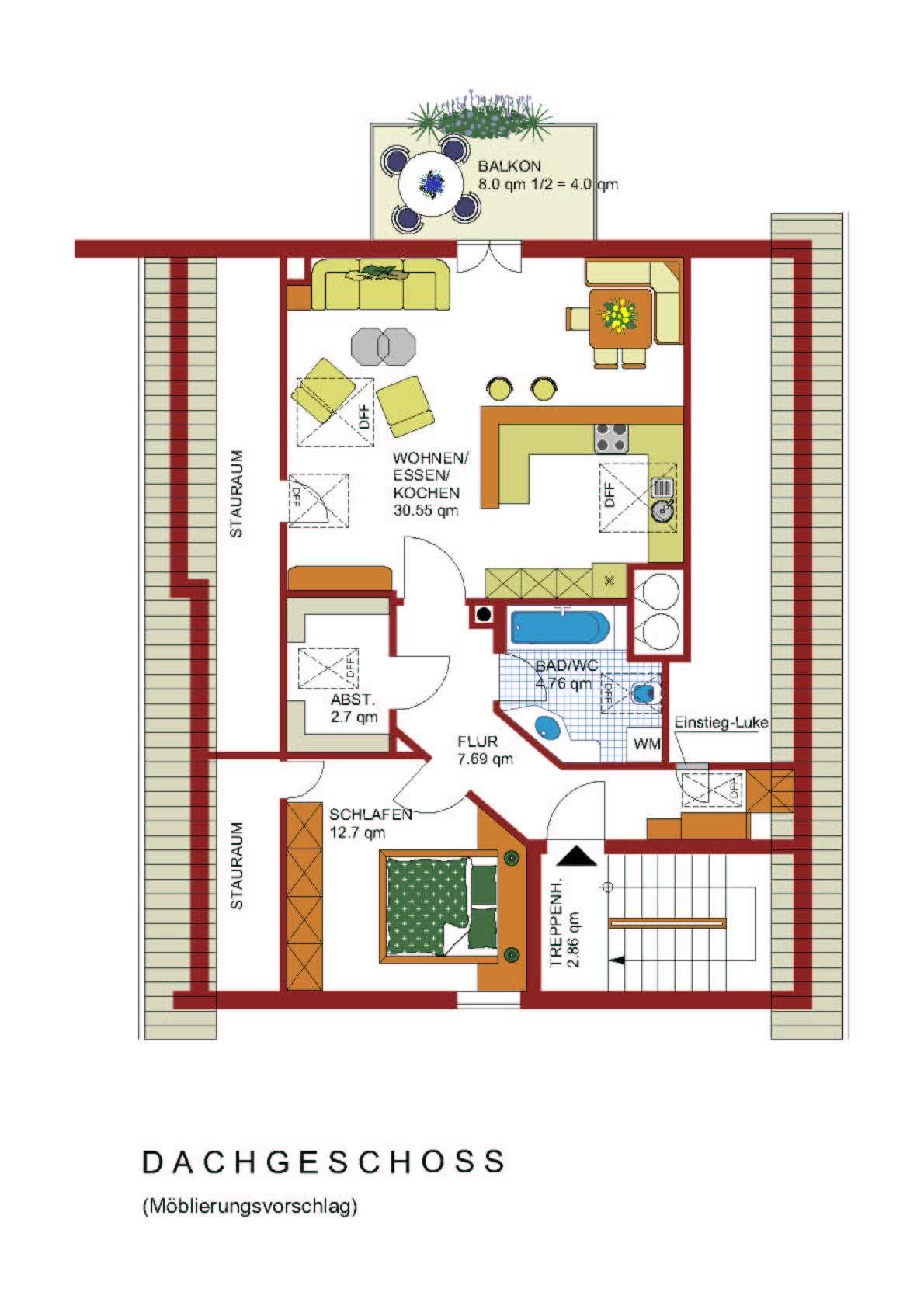 Gepflegte 2-Zimmer-DG-Wohnung mit Balkon und Einbauküche in Emmering in Emmering (Ebersberg)