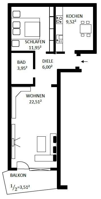 Ruhige, helle 2-Zimmer-Wohnung in Bayreuth in Königsallee/Neue Heimat/Colmdorf/Eichelberg (Bayreuth)