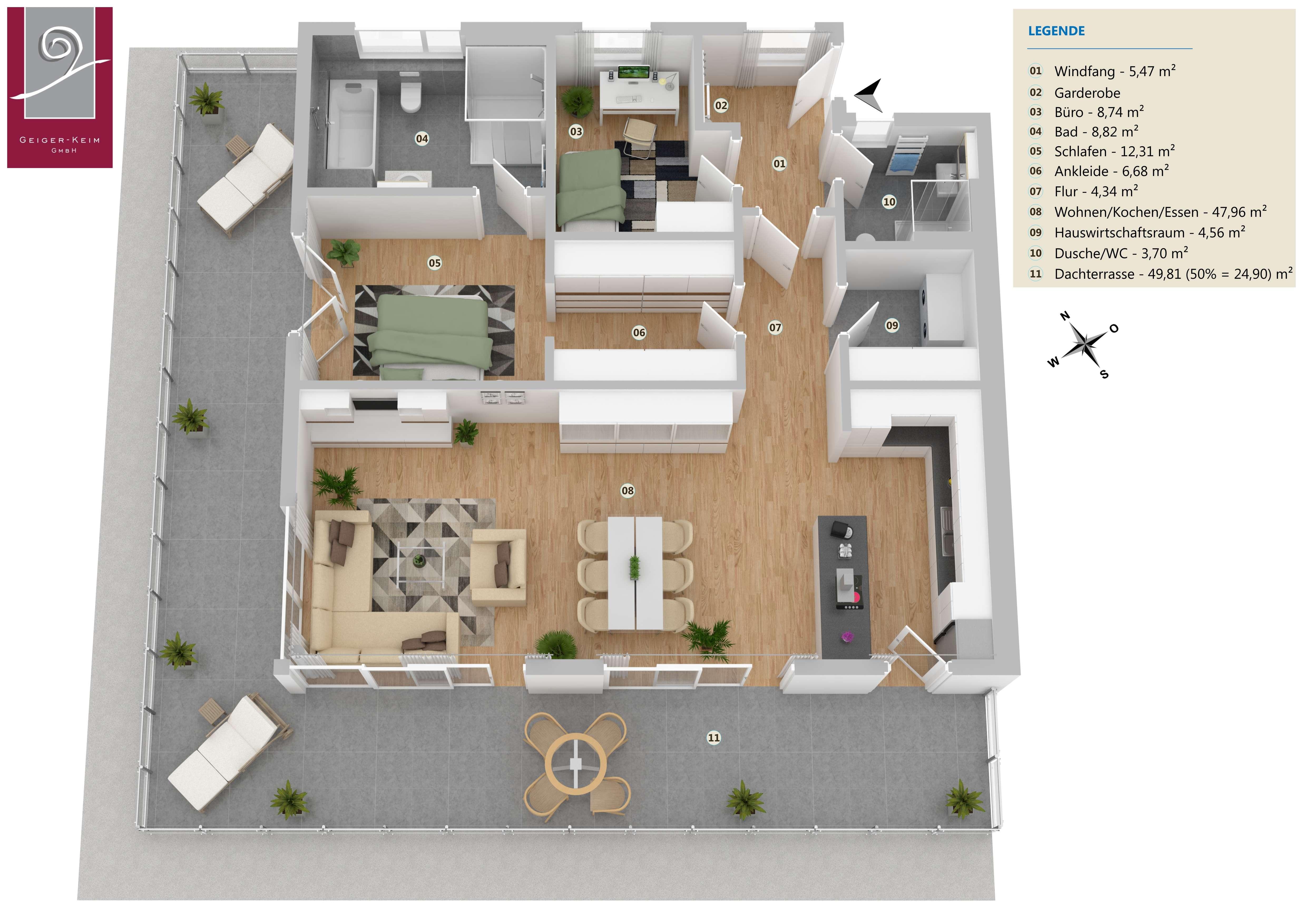 Neubau - barrierefreie 3,5-Zimmer-Penthouse-Wohnung in Deggendorf (Mietraching) in Deggendorf