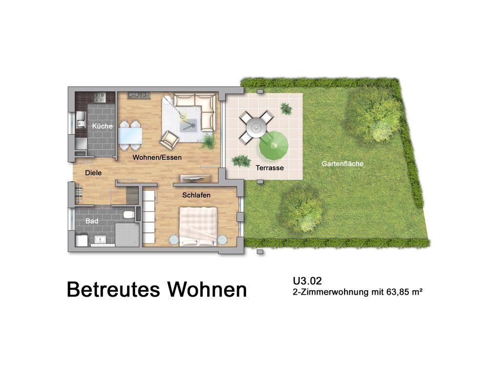 Betreutes Wohnen 2-Zi. U3.02