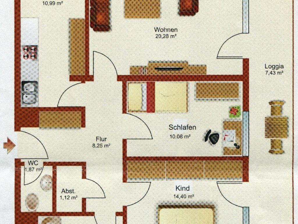 gepflegte 3 zimmer wohnung mit balkon in erlangen. Black Bedroom Furniture Sets. Home Design Ideas