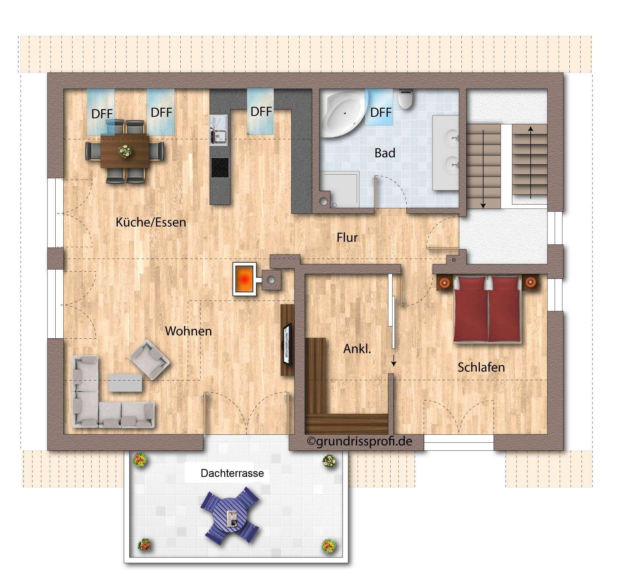 Extravagante große 2-Zimmer Studiowohnung mit toller Aussicht