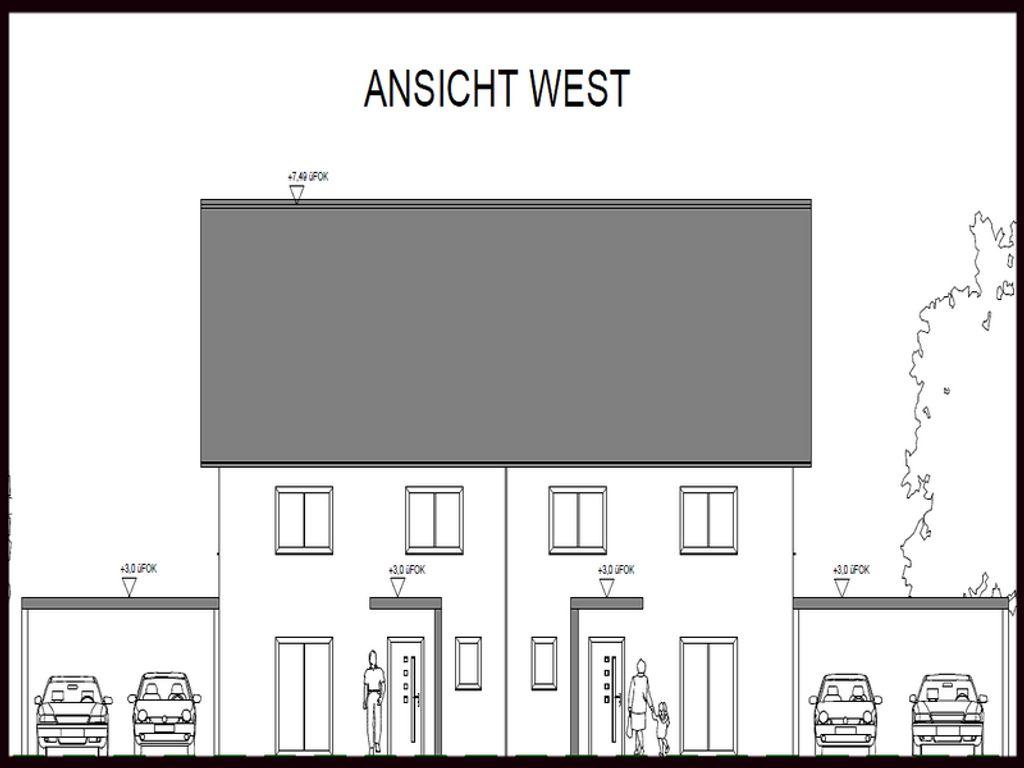 Westansicht Doppelhaus