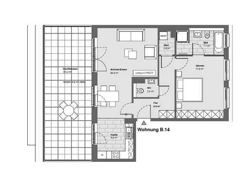 Moderne Penthouse-Wohnung mit 37 m² Dachterrasse
