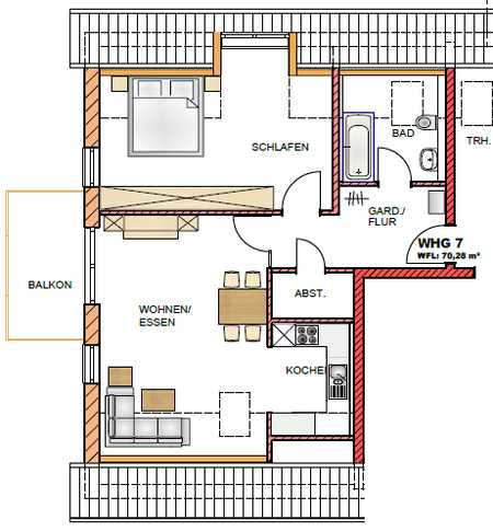 Erstbezug mit Balkon: 2,5-Zimmer-Dachgeschosswohnung in Abensberg in Abensberg