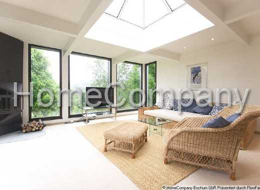 House with guest area and large garden with patio, offering a broad view over Herdecke