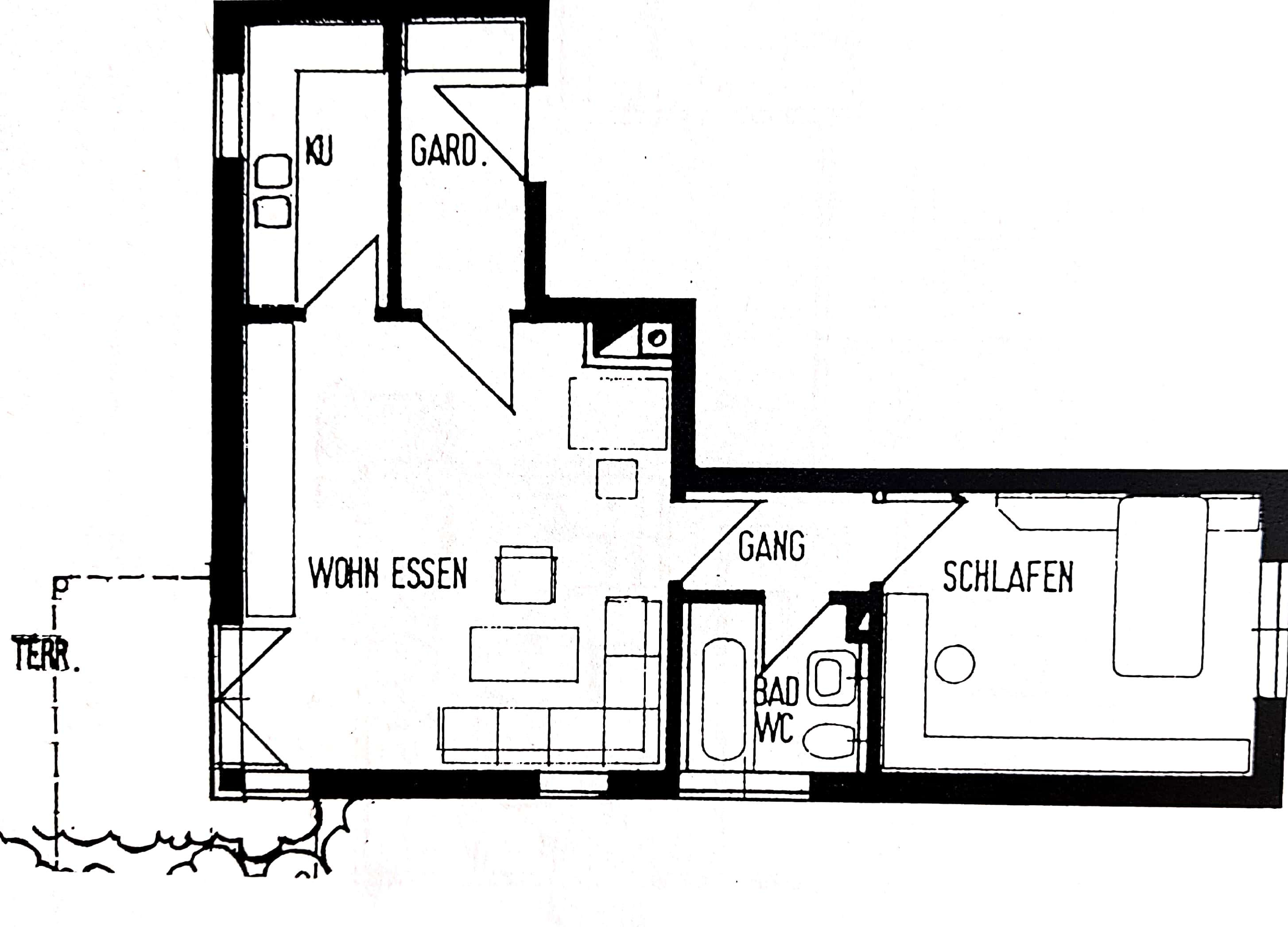 490 €, 54 m², 2 ZKB, Zentrale Lage direkt in Rain