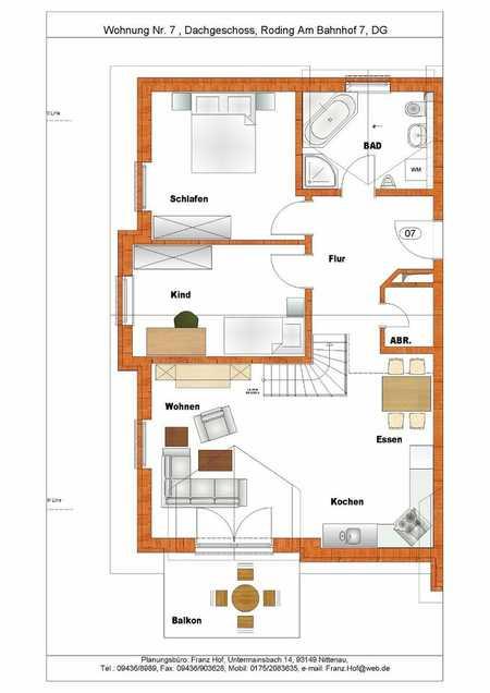 Neuwertige Maisonette-Wohnung mit vier Zimmern sowie Balkon und Einbauküche in Roding in Roding