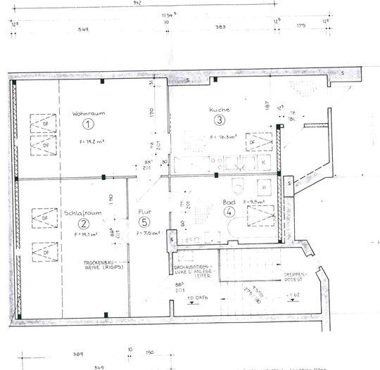 Dachgeschosswohnung-Grundriss