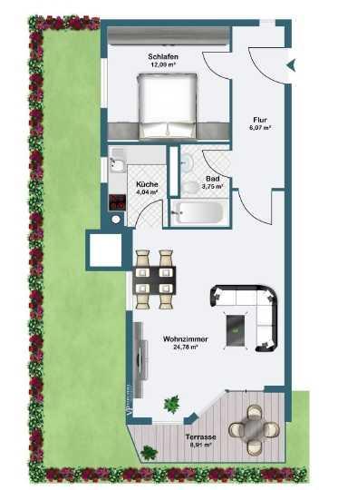 Erstbezug nach Sanierung: stilvolle 2-Zimmer-EG-Wohnung mit Einbauküche und Balkon in Unterföhring in Unterföhring