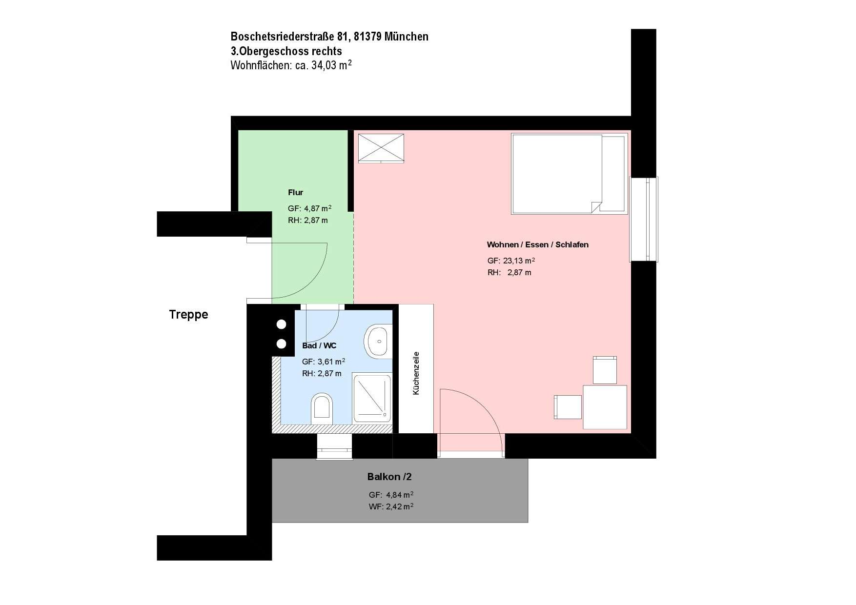 *Obersendling*1-Zimmer-Apartment*möbliert*Balkon*Parkett* in Obersendling (München)