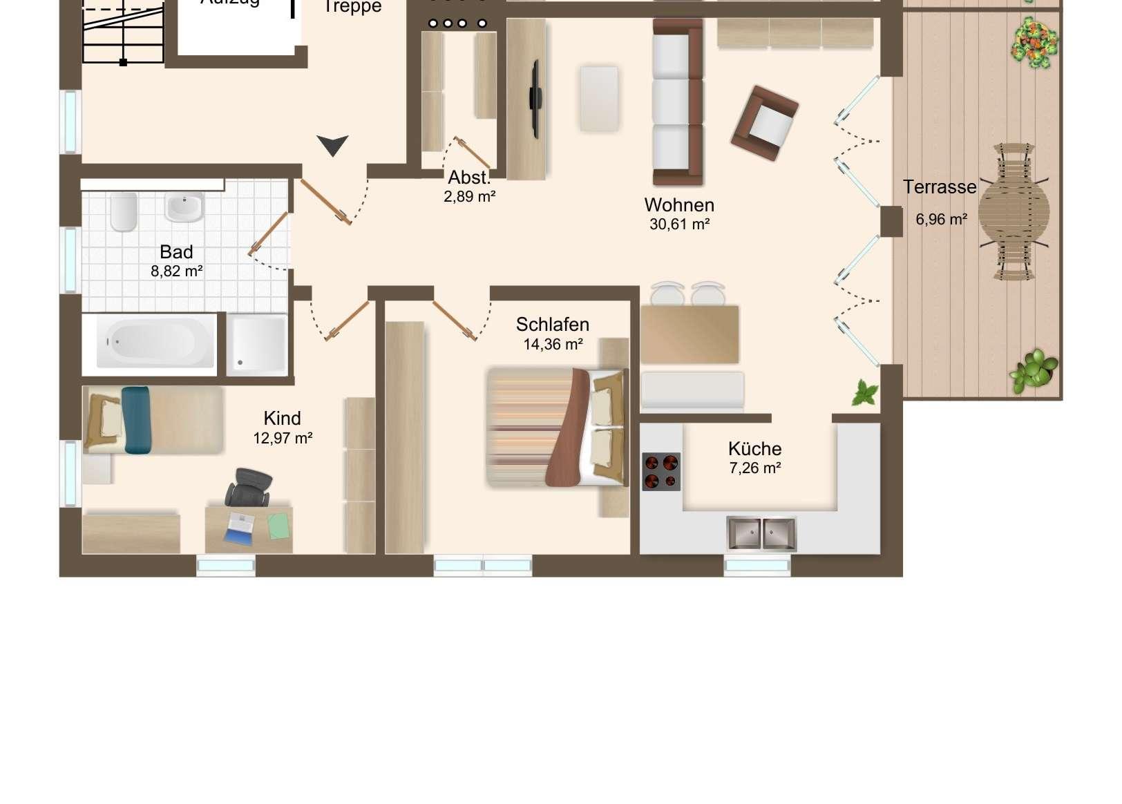 ERSTBEZUG - exklusive 3 ZKB EG Wohnung mit Terrasse und TG -Stellplätzen in Bestlage von Beilngries in
