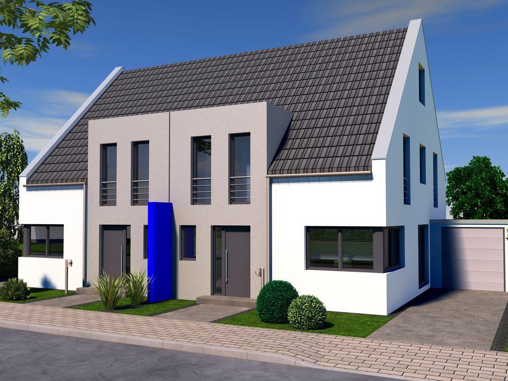moderne doppelhaush lfte als kfw 55 effizienz haus in krefeld. Black Bedroom Furniture Sets. Home Design Ideas