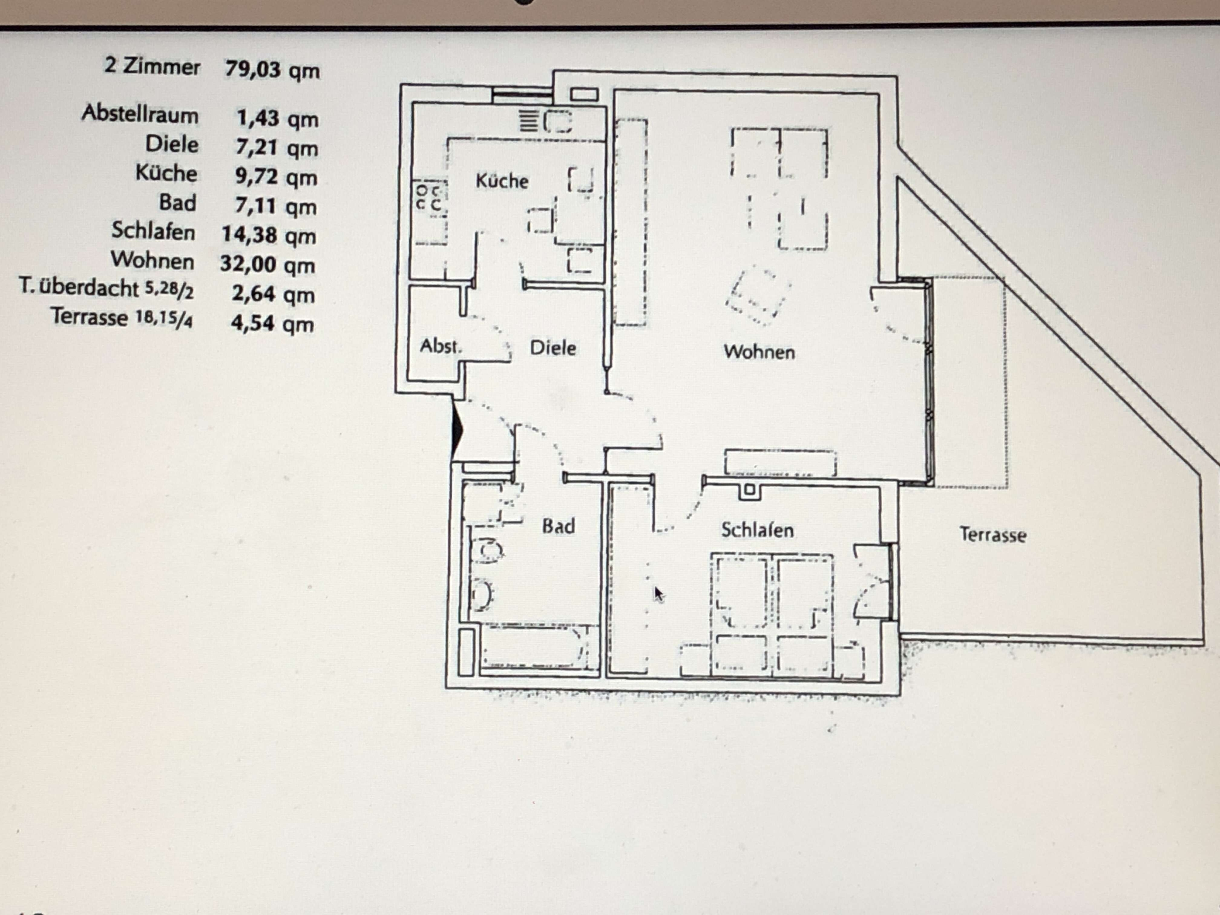 980 €, 80 m², 2 Zimmer
