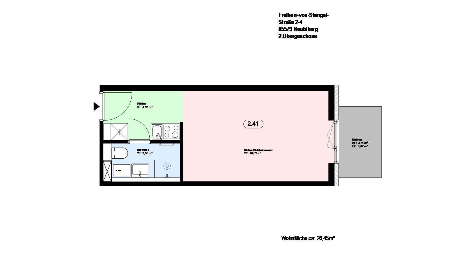 *Neubiberg*möblierte 1-Zimmer Wohnung *direkt an der S-Bahn* mit EBK und Parkett *Balkon in Neubiberg