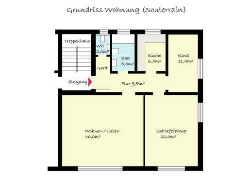 3 Zimmer (92m²) Souterrainwohnung in Ingelheim Nord