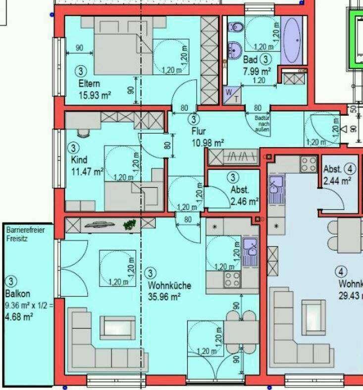Erstbezug: freundliche 3-Zimmer-Wohnung mit Balkon in Ergoldsbach