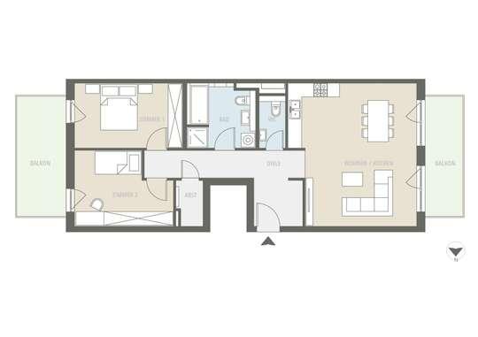 Neue 3-Zimmer Wohnung mit Gäste-WC und 2 Balkonen