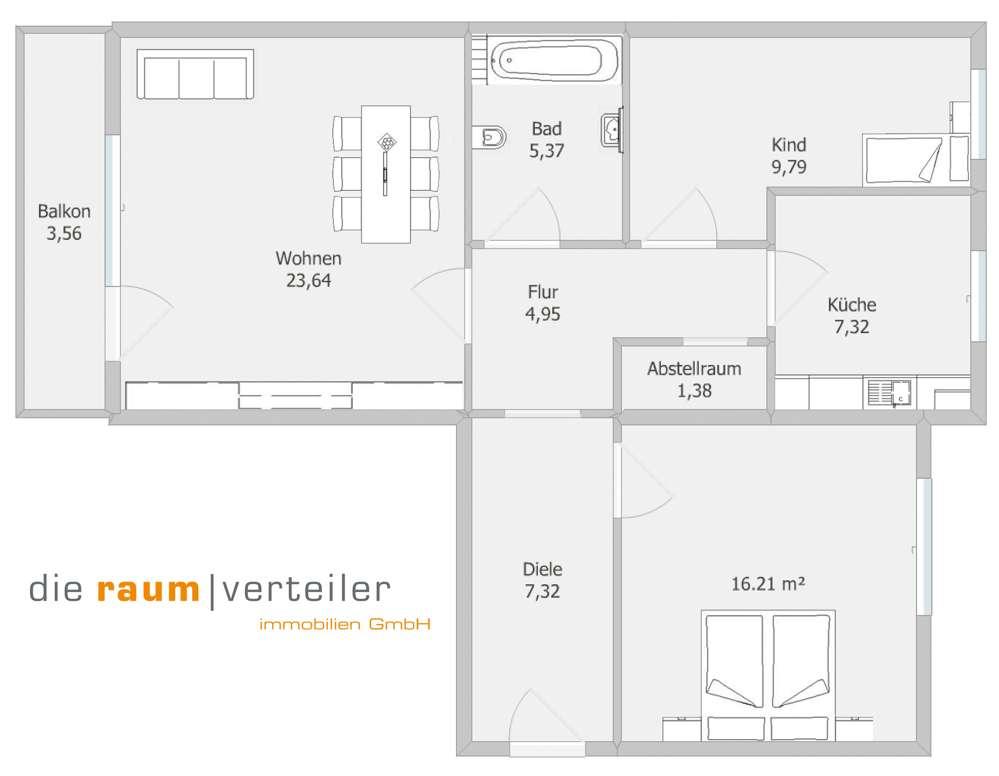 Bad Aibling Zentrum: Idyllische und sonnige 3 Zimmer Wohnung direkt am Kurpark in