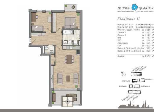 Wohnen in guter Nachbarschaft – nahe Bunter Garten und City. Moderne 3-Zimmer-Wohnung.