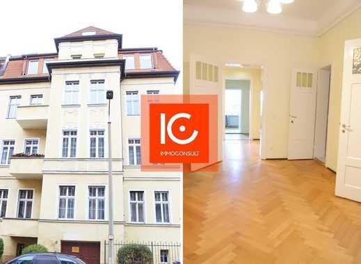 Helle 6- Raum Wohnung mit Parkett, Flügeltüren, Balkon + Loggia, Stuck, Tageslichtbad, Keller, 3 SP