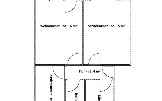 Grundriss 3-Raumwohnung