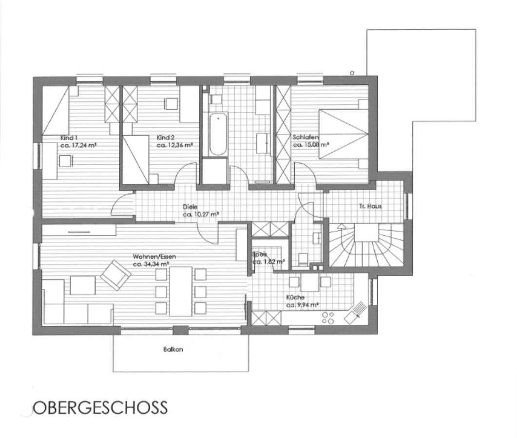 Etagenwohnung im 1. OG mit Balkon / Einbauküche / Garage in