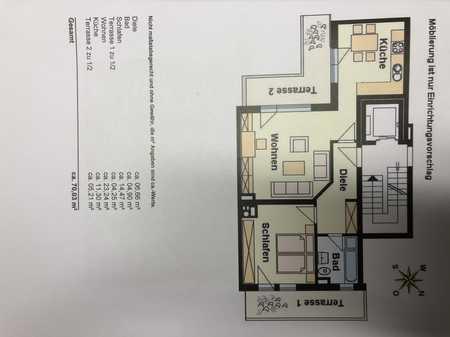 Gepflegte 2-Zimmer-Etagenwohnung mit Einbauküche und 2 Dachterrassen in Waldkraiburg in Waldkraiburg