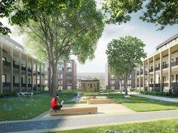 Altbau: Blick auf Neubau